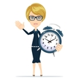 Cute pretty girl with an alarm clock vector image vector image