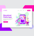 educational mobile apps concept vector image vector image