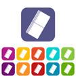 eraser icons set flat vector image vector image