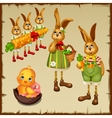 family rabbits and chicken in chocolate egg vector image vector image