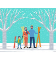 family skiers on resort lifestyle people vector image