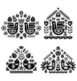 folk art pattern collection with four single vector image vector image