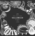 halloween design template hand drawn on chalk vector image vector image