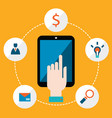 hand holding tablet with icons communication in vector image
