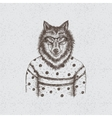 Hipster wolf dressed in the blouse vector image