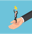 isometric giant hand helping businessman to catch vector image vector image