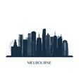 melbrourne skyline monochrome silhouette vector image vector image