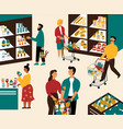 men and women buying products at grocery store vector image vector image