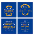 merry christmas creative design with blue vector image