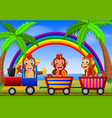 monkey on the train with rainbow vector image vector image