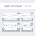 qwerty keyboard full set vector image vector image