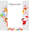 Santa Reindeer And Children With Banner vector image vector image