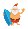 santa summer vacations ocean surfboard daily vector image
