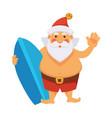 santa summer vacations ocean surfboard daily vector image vector image