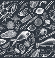 seafood and fish seamless pattern hand drawn on vector image vector image