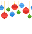 seamless border from pixel art christmas tree ball vector image vector image
