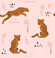 seamless pattern with hand drawn leopards vector image vector image