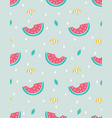 seamless pattern with watermelon and umbrella vector image