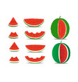 set watermelon and slices isolated on the vector image vector image