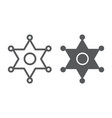 sheriff badge line and glyph icon law and officer vector image