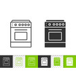 stove simple black line icon vector image vector image