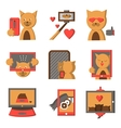 Stylish color icons for selfie lifestyle vector image vector image