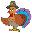 thanksgiving turkey with hat vector image