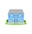 two-storey house with big entrance door and vector image vector image