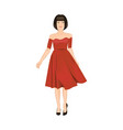 young brunette woman wearing red dress isolated vector image