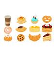 yummy sweet dessert set flat vector image