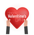 happy valentines day lettering card hold hands vector image