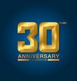 30 years anniversary celebration logotype golden vector image
