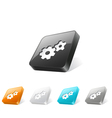 3d web button with gear icon vector image vector image