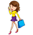 A girl using a mobile phone vector image vector image
