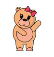 adorable female bear animal with hand up vector image vector image