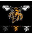 aggressive bee or wasp mascot vector image