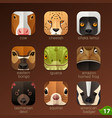 animal faces for app icons-set 17 vector image vector image