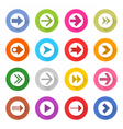 Arrow sign web icon set flat style vector image