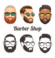 barbershop cartoon and outline logos with vector image vector image