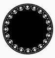 beautiful round cat skull ornament vector image vector image