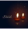 beautiful two diwali festival diya on dark vector image vector image