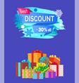 best discount advert text written on promo label vector image vector image