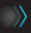 blue light neon arrow direction on dark grey vector image vector image