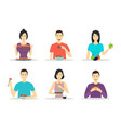 cartoon characters people eating meals set vector image
