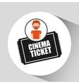 cartoon man icon ticket cinema graphic vector image