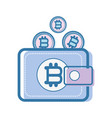 color wallet icon with bitcoin currency vector image vector image