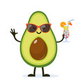 cute and funny avocado character vector image vector image