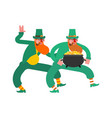dancing leprechaun dwarf with red beard and vector image vector image