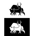 deer and buffalo silhouette cut out icon vector image