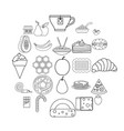 delicious icons set outline style vector image vector image